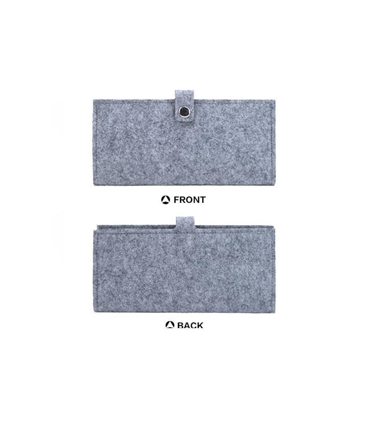 Button closure wool felt wallets for men and women