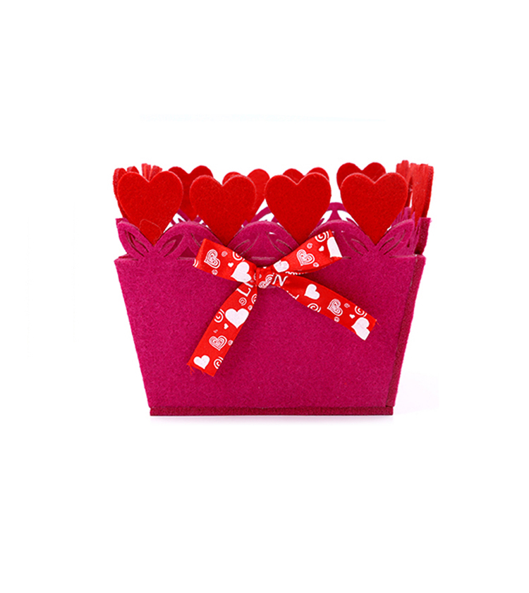 Valentine's day decoration felt Storage basket